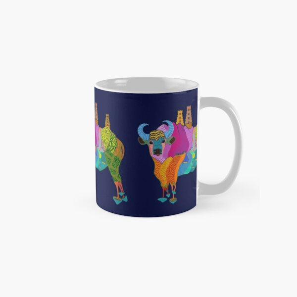 Trippy Indian Bison Mushroom Temple from Mountains to Ocean Classic Mug