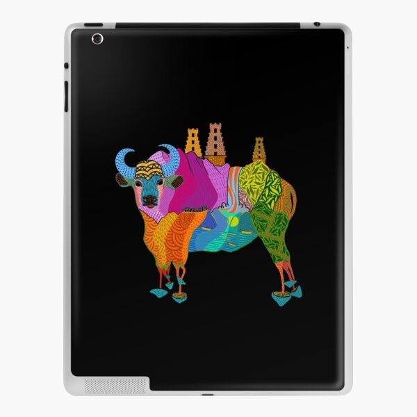 Trippy Indian Bison Mushroom Temple from Mountains to Ocean iPad Skin