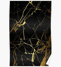 Black - Gold Marble texture Poster