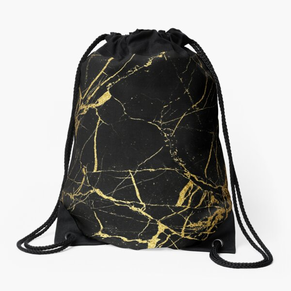 Black - Gold Marble texture Drawstring Bag