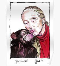 Jane Goodall - Chimp Kissies Poster