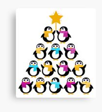 Penguins standing in pyramid. Vector cartoon Canvas Print
