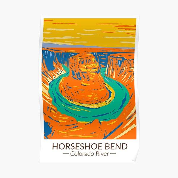 Horseshoe Bend Colorado River Vintage Poster