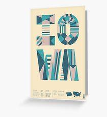 Typographic Iowa State Poster Greeting Card