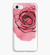 Pink Rose hand painted watercolor & ink by ArtByVourneen iPhone Case/Skin