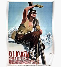 Vintage Italian winter sports travel ad Aosta Valley Poster