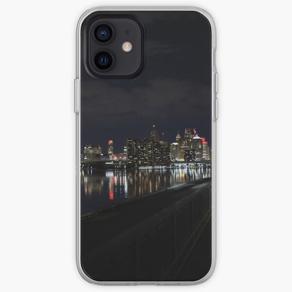 Detroit View at night / Detroit river photography, iPhone Soft Case