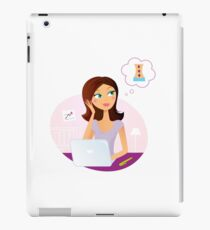 Busy office woman dreaming about relaxation iPad Case/Skin