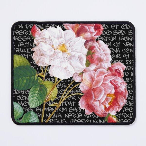 Modern Vintage no 47. Vintage Pink Roses on Graffiti.  Dark background. Mouse Pad