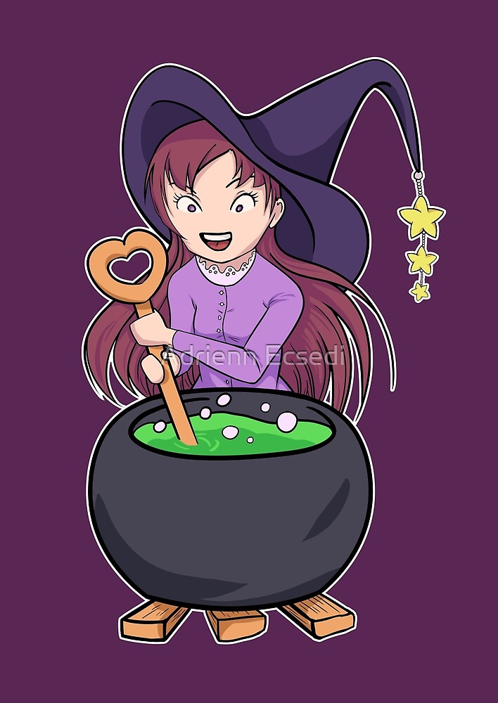 Little Witch Makes Potion by Adrienn Ecsedi