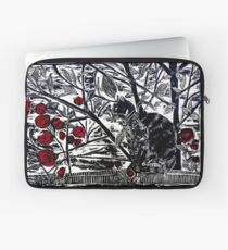 Poppy on the Deck-Woodcut Laptop Sleeve