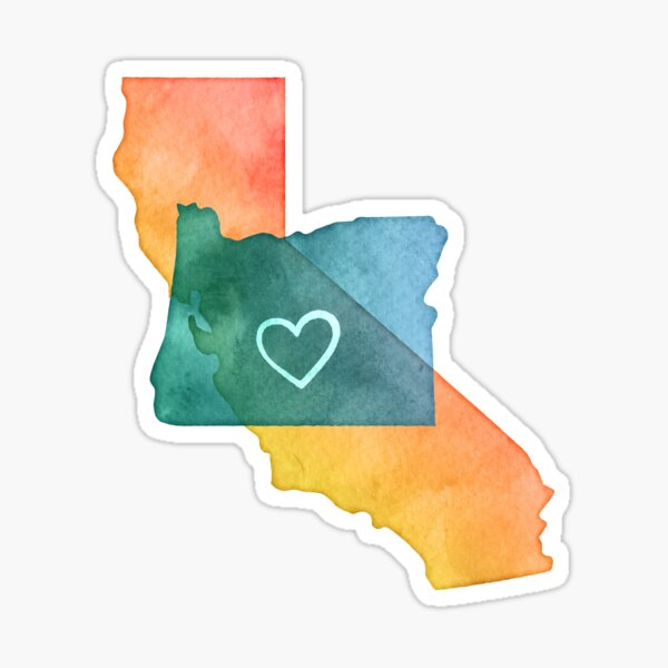 I Love California and Oregon Sticker