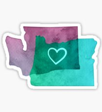 I Love Washington and Oregon Sticker