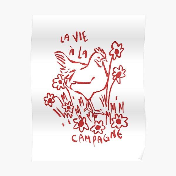 la vie á la campagne - red Poster