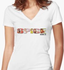 Spice Logo Women's Fitted V-Neck T-Shirt