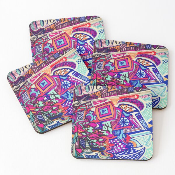 This Is Therapy,  johnniefoxbar1, Non-Associative Drawing  Coasters (Set of 4)