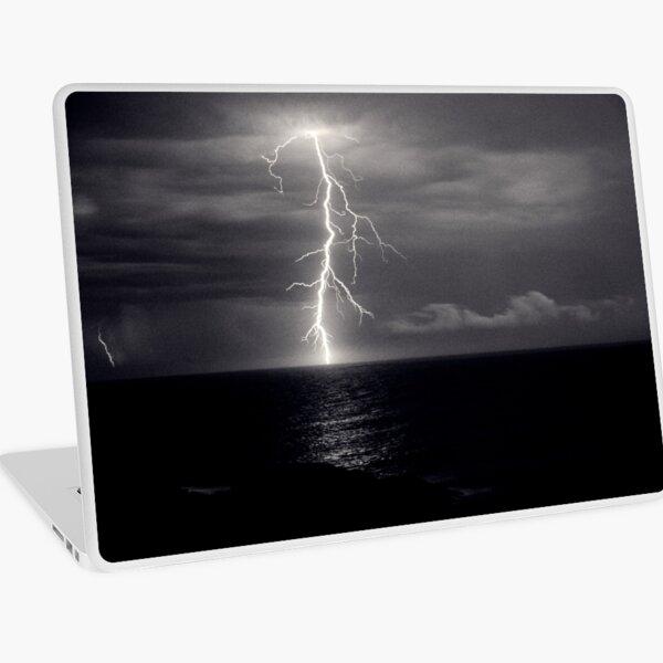 Dusk lightning over sea Laptop Skin
