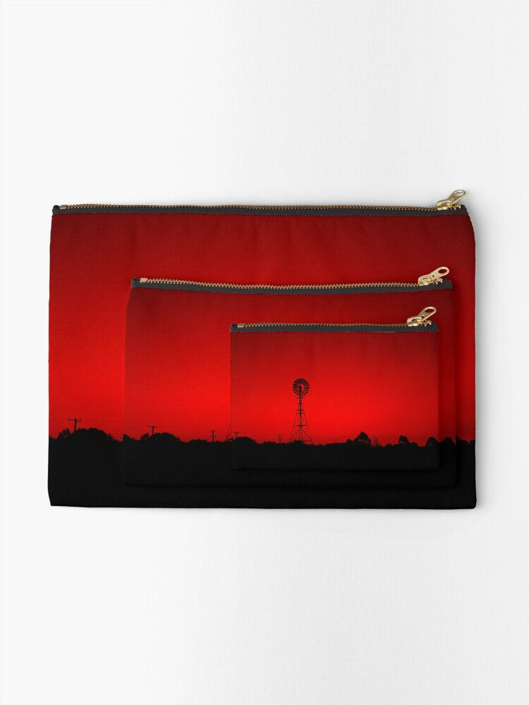 Alternate view of Windmill at dusk Zipper Pouch