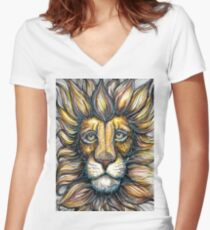 lion design hand draw Women's Fitted V-Neck T-Shirt