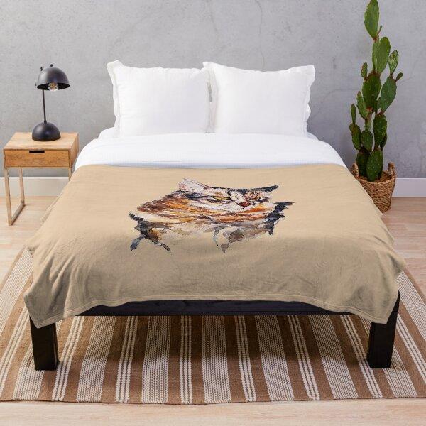 Cat Watercolor Artwork Painting (Asher) Throw Blanket