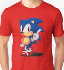 The Classic Blue Hedgehog (white background) Unisex T-Shirt