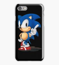 The Classic Blue Hedgehog (black background) iPhone Case/Skin