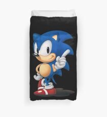 The Classic Blue Hedgehog (black background) Duvet Cover