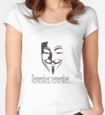 'Remember, remember' Guy Fawkes Women's Fitted Scoop T-Shirt