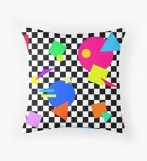 Retro Shapes On Black & White Check - 80s 80's 1980s 1980's 1980 Classic Throw Back Throw Pillow