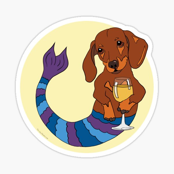 Shelby the Dachshund Mermutt Sticker