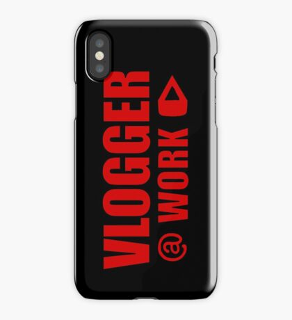 VLOGGER AT WORK (RED ON CLEAR) iPhone Case