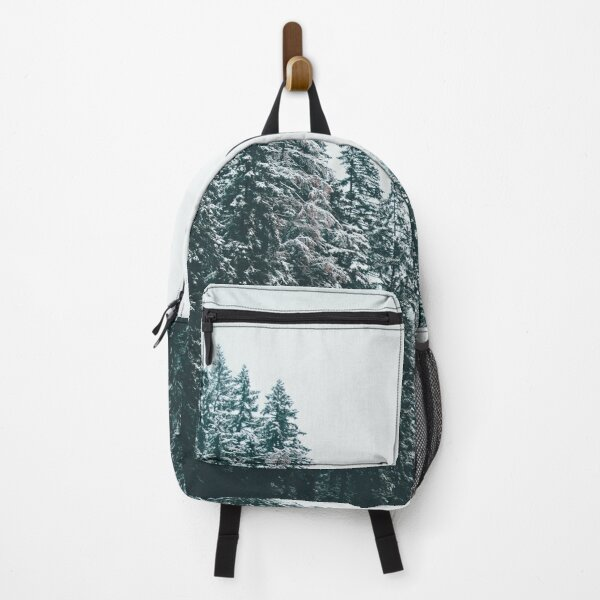 Snowy Trees On a River in Winter  Backpack