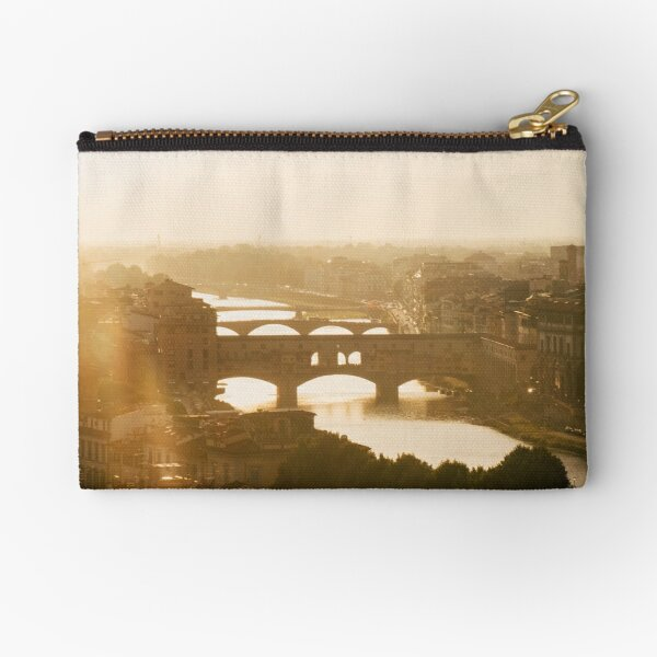 Sunset view over the Ponte Vecchio, Florence, Italy Zipper Pouch