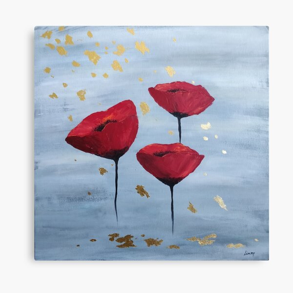 Summer rain, poppies abstract painting Canvas Print