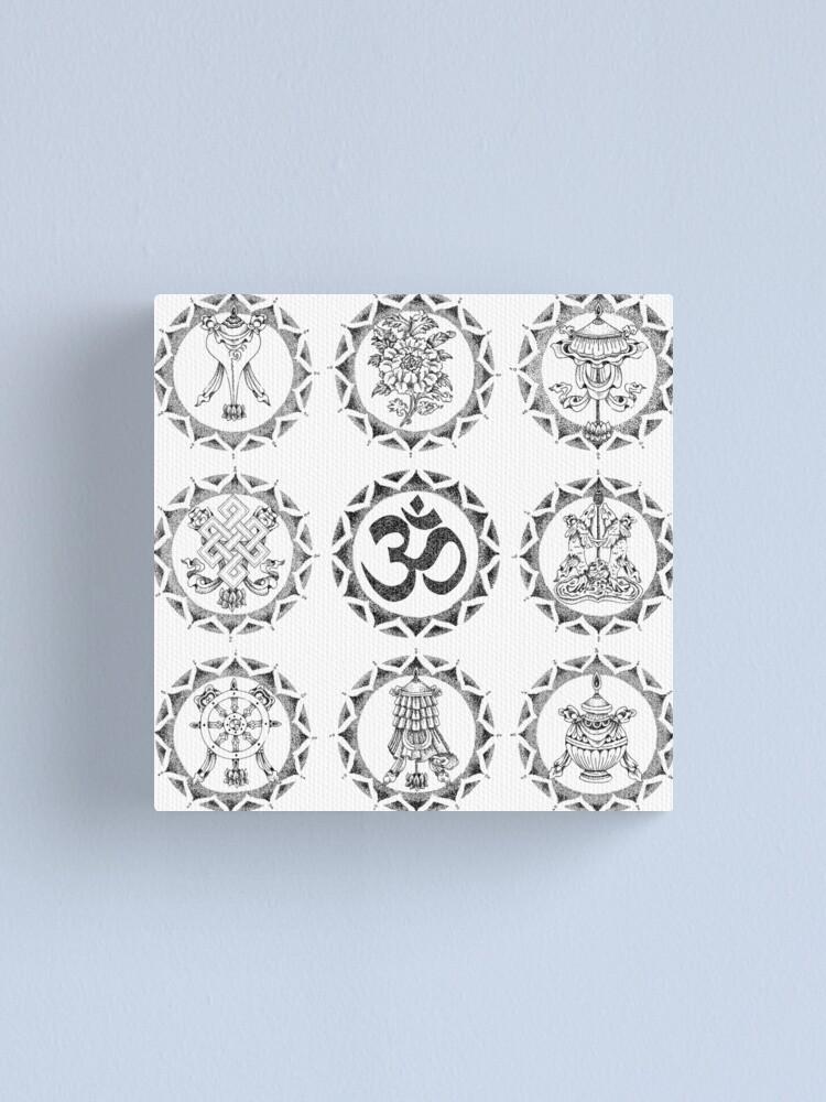 Alternate view of Eight Auspicious Symbols - Buddhist Canvas Print