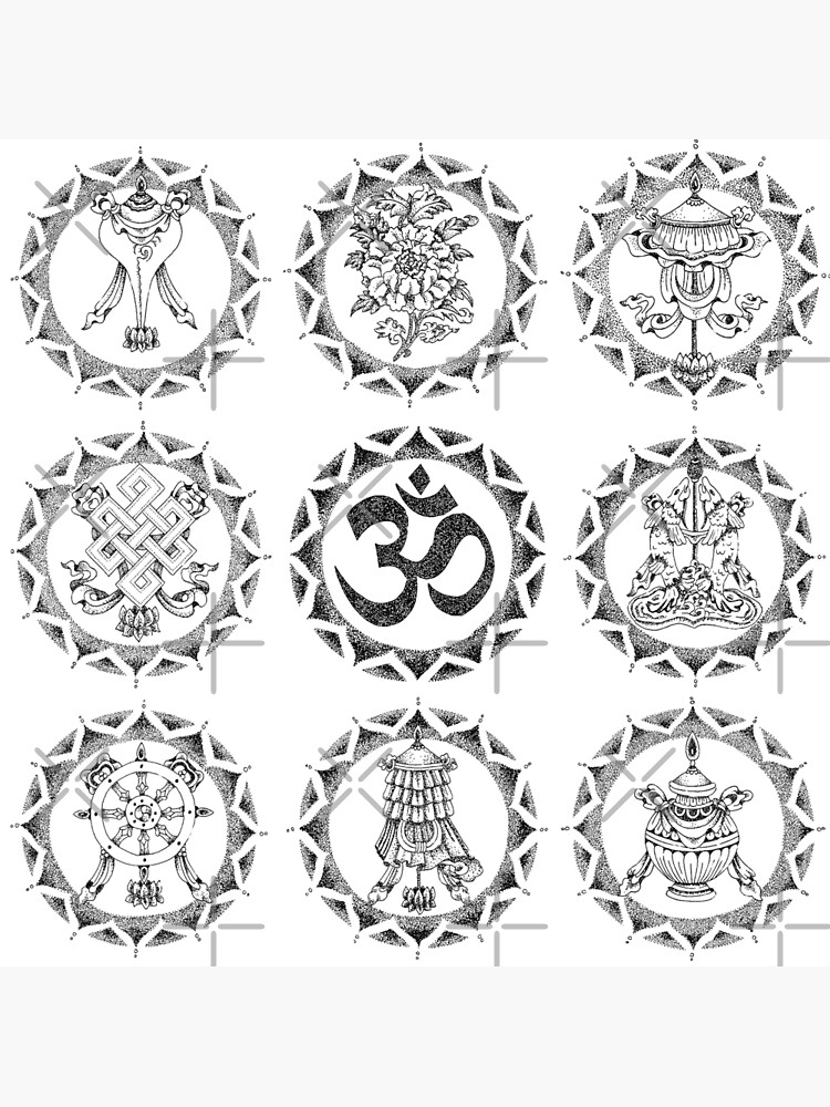 Eight Auspicious Symbols - Buddhist by georgiamason
