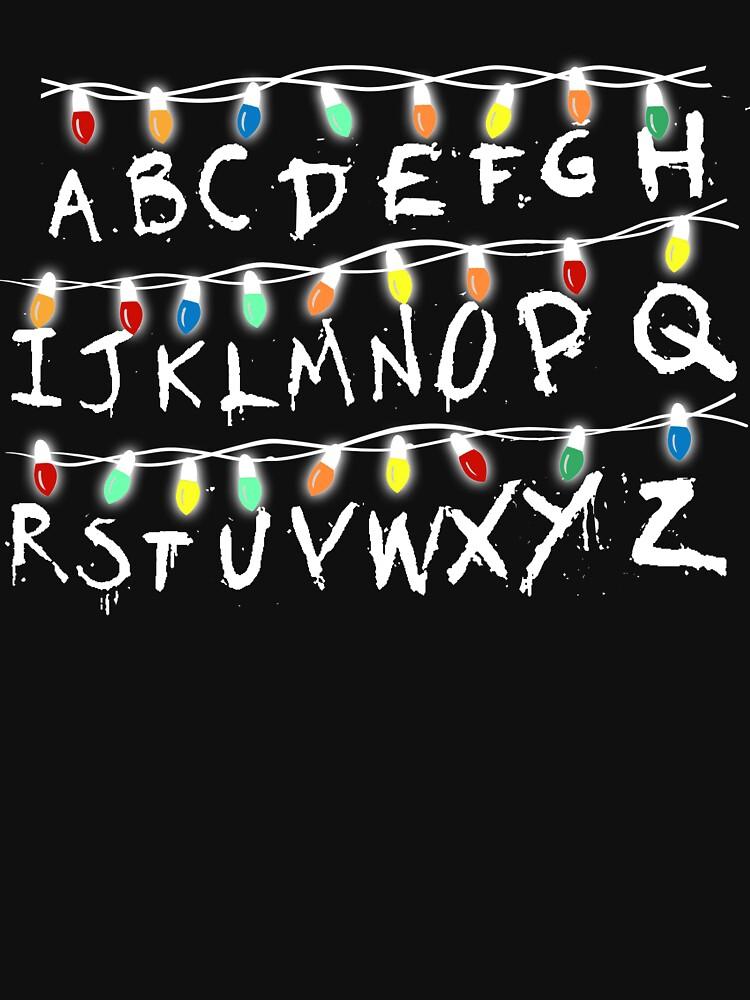 Stranger Things Christmas Lights.Christmas Lights Alphabet From Stranger Thing T Shirt