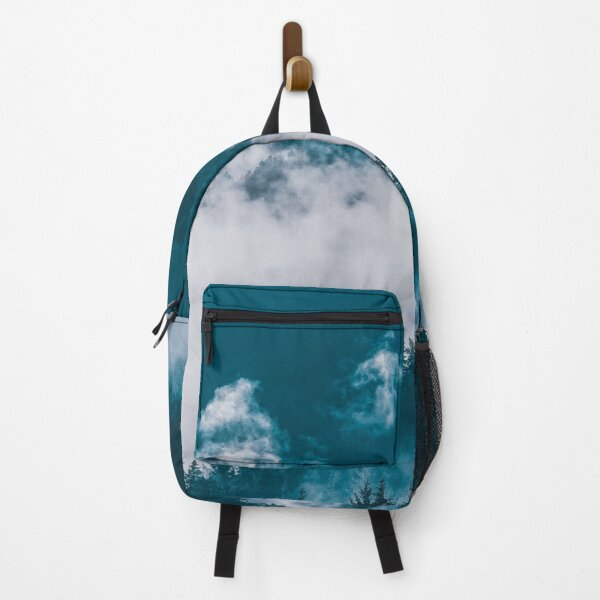 Mountain Covered With Fog and Trees - Night Moon Backpack