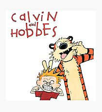 Calvin and Hobbes Funny Face Photographic Print