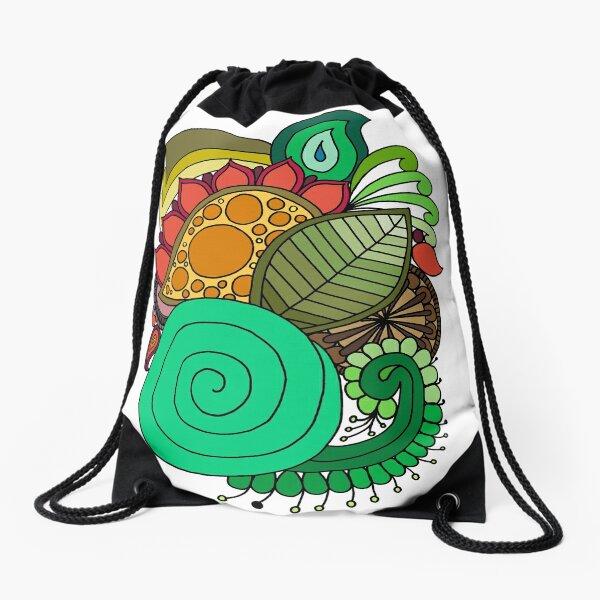 DejaLulu Leaf Mandala Drawstring Bag