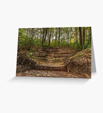 Stairs dug earth to climb to the forest Greeting Card