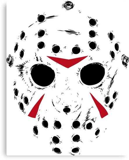 "To Print For Jason Mask Pumpkin Stencil: ""Jason Voorhees Mask"" Canvas Print By Yukiotanaka"