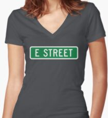 E Street, vintage street sign (color version) Women's Fitted V-Neck T-Shirt