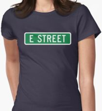 E Street, vintage street sign (color version) Women's Fitted T-Shirt