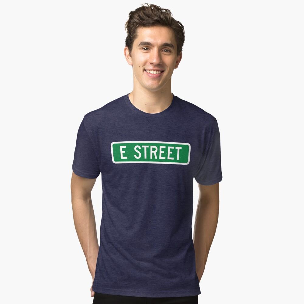 E Street, vintage street sign (color version) Tri-blend T-Shirt