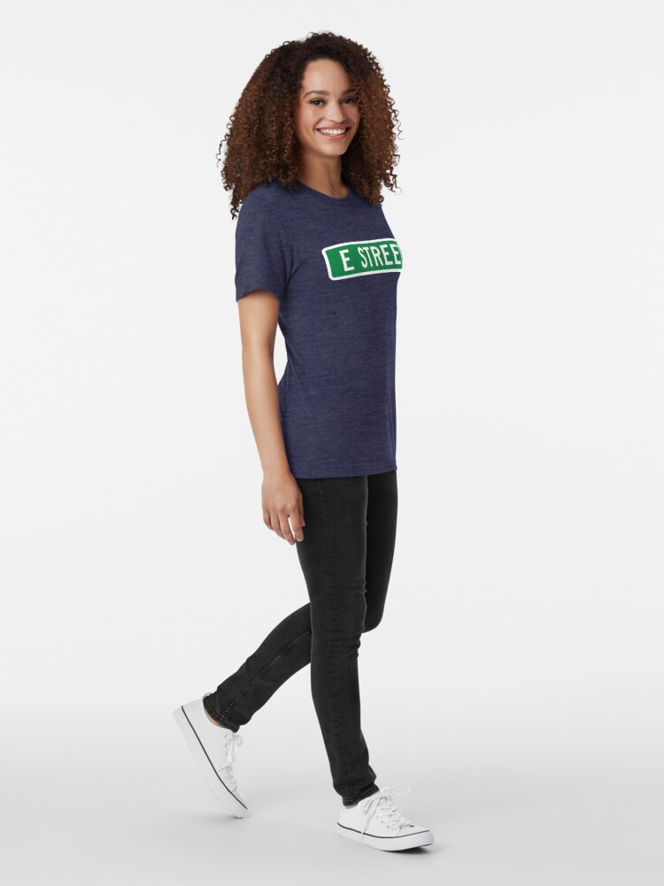 Alternate view of E Street, vintage street sign (color version) Tri-blend T-Shirt
