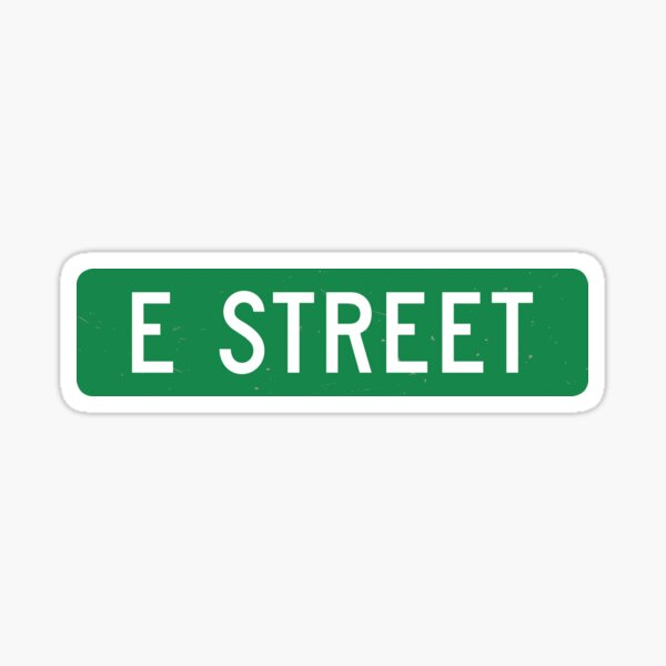 E Street, vintage street sign (color version) Sticker
