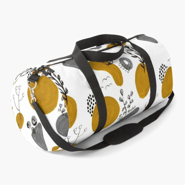 Hand Painted Mustard and Grey colour Modern Geometric Ink and Gouache  floral Pattern Mid century Duffle Bag