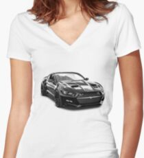 FORD MUSTANG Women's Fitted V-Neck T-Shirt