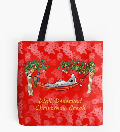 Koala Relaxing on its Hammock on a Well Deserved Christmas Break Tote Bag